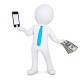 3d man changes the smartphone on the money. Isolated render on a white background Stock Image