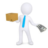 3d man changing a cardboard box on the money Royalty Free Stock Photo