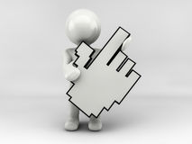 3D man character with cursor Stock Photography