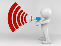 3D man character with a megaphone. 3D man character with red megaphone Stock Photo