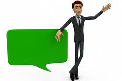 3d man with chat bubble concept Stock Images