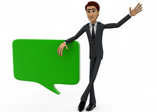 3d man with chat bubble concept Stock Photos