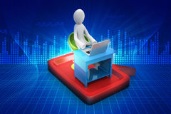 3d man in chat bubble with laptop. In color background Royalty Free Stock Photo