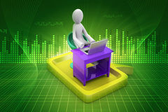 3d man in chat bubble with laptop. In color background Royalty Free Stock Photography