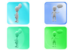 3d man chat cloud icon Royalty Free Stock Photo