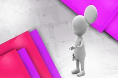3d man chat cloud illustration Royalty Free Stock Photo