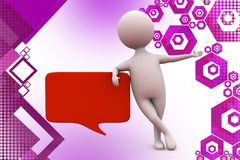 3d man with chat illustration Stock Photo