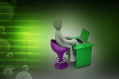 3d man chat with laptop Royalty Free Stock Photos