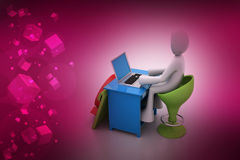 3d man chat with laptop Stock Images
