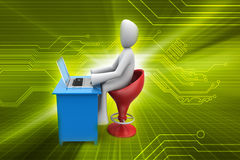 3d man chat with laptop Royalty Free Stock Photography