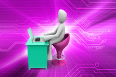 3d man in chat with laptop Royalty Free Stock Photography