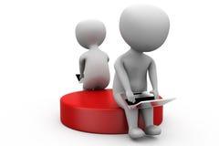 3d man chat laptop concept Stock Image