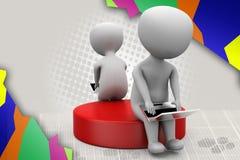 3d man chat laptop illustration Royalty Free Stock Photo