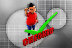 3d man checked illustration Stock Images
