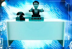 3d man checking paper on office table illustration Royalty Free Stock Photos