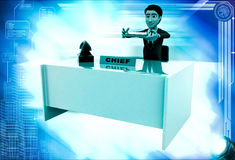 3d man checking paper on office table illustration Royalty Free Stock Photography