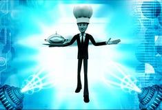 3d man chef serving dish illustration Royalty Free Stock Image