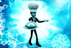 3d man chef serving dish illustration Royalty Free Stock Images