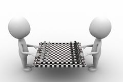 3D Man With Chess Board Royalty Free Stock Photos