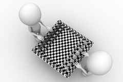 3D Man With Chess Board Stock Images
