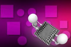 3D Man With Chess Board illustration Royalty Free Stock Photos