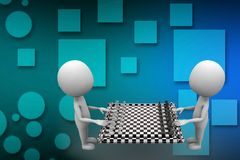 3D Man With Chess Board illustration Stock Photo