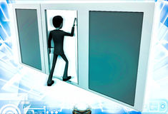 3d man choose middle one door from three different doors illustration Stock Photography