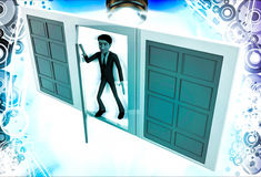 3d man choose middle one door from three different doors illustration Stock Image