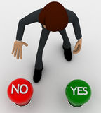 3d man choose red no button from no and yes button concept Stock Images