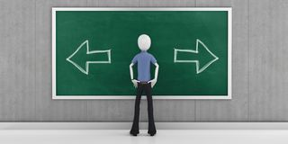 3d man choosing the right direction. With blackboard Stock Image