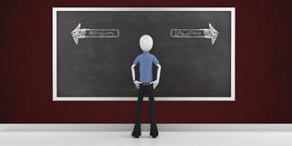 3d man choosing the right way. With blackboard Stock Photo