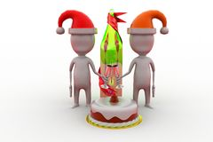 3d man christmas cake concept Stock Images