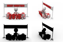 3d man 2015 christmas concept collections with alpha and shadow channel Stock Photo