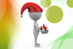 3d man christmas gift  illustration Stock Photography
