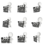 3D man with cinema clapperboard Stock Photos
