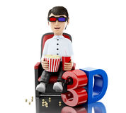 3d Man in the cinema and eating popcorn with 3D glasses. royalty free illustration