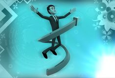 3d man in circular arrow illustration Royalty Free Stock Image
