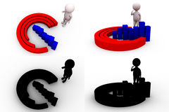 3d man circular bar graph concept collections with alpha and shadow channel Stock Image