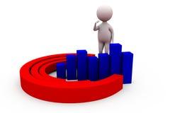 3d man circular bar graph concept Royalty Free Stock Images