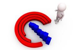 3d man circular bar graph concept Stock Image