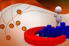 3d man circular bar graph  illustration Royalty Free Stock Photography