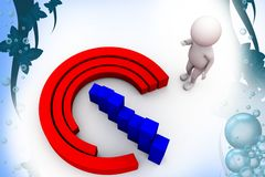 3d man circular bar graph  illustration Royalty Free Stock Image