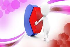 3d man circular graphs  illustration Stock Photography