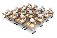 3d man in classroom, exam test Royalty Free Stock Image