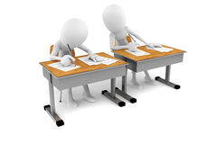 3d man in classroom, exam test Stock Image