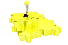 3d man clean puzzle concept Royalty Free Stock Photography