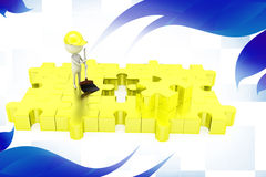 3d man clean puzzle  illustration Royalty Free Stock Photography