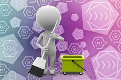 3d man clean up illustration Stock Image