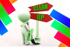 3d Man Clean Up illustration Stock Photo
