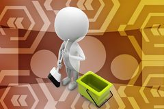 3d man clean up illustration Royalty Free Stock Photo